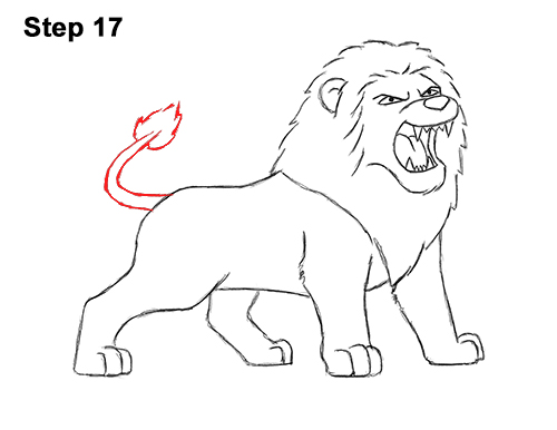 How to Draw Tough Cool Angry Cartoon Lion Roaring 17
