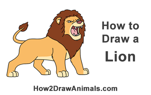 How to Draw a Lion Roaring (Cartoon)