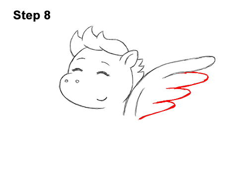 How to Draw Cute Cartoon Pegasus Wings Chibi Kawaii 8
