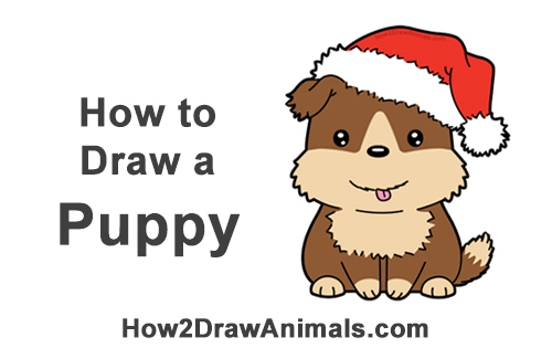 How to Draw a Cute Cartoon Puppy Christmas Chibi Kawaii