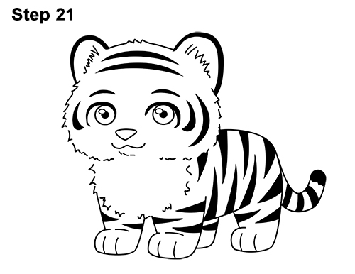 Draw Cartoon Mini Little Tiger Cub 21