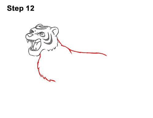 How to Draw Cartoon Tiger Roaring 12