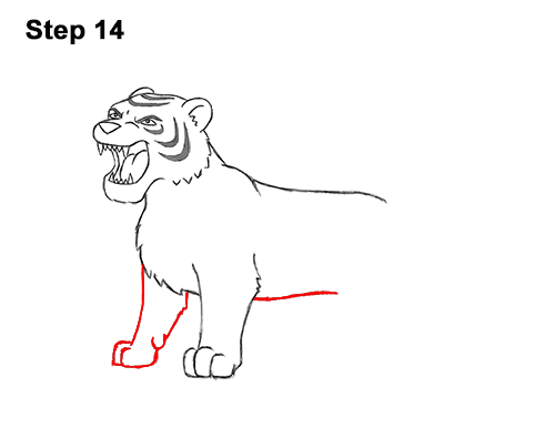 How to Draw Cartoon Tiger Roaring 14