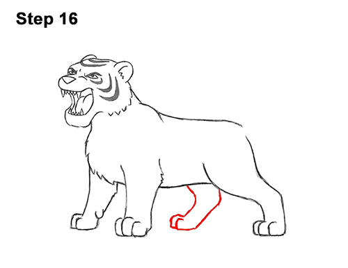 How to Draw Cartoon Tiger Roaring 16