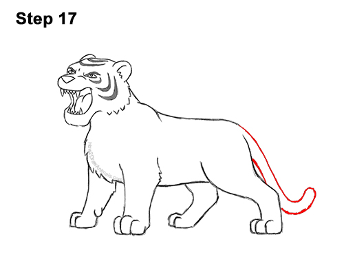 How to Draw Cartoon Tiger Roaring 17