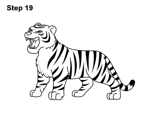 How to Draw Cartoon Tiger Roaring 19
