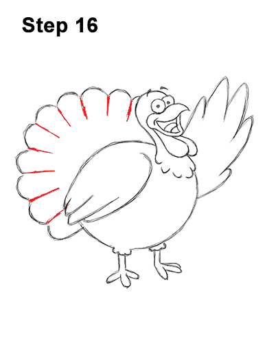 How to Draw a Thanksgiving Funny Turkey Cartoon 16