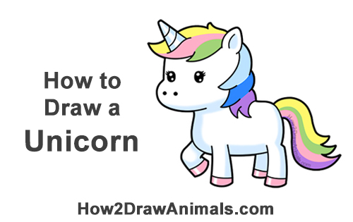 How To Draw A Unicorn Cartoon Video  Step-By-Step Pictures-8571