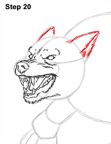 How to Draw Growling Snarling Scary Angry Werewolf 20