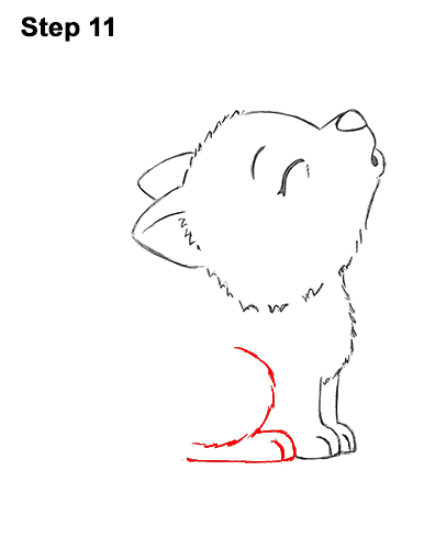 How to Draw Cute Little Cartoon Wolf Pup Cub Howling 11